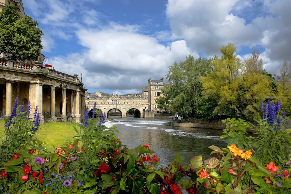 cityscape in the medieval town Bath, Somerset, England
